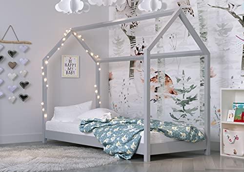 Children's Beds Home - Cama individual en forma de casa - Kofi - Tamaño 200x90, Color Gris, Colchón 10 cm de látex y fibra de coco