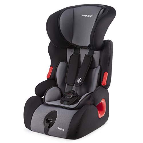 BABYLON silla bebe coche Planet silla de coche grupo 1 2 3, silla de bebe para coche Niños 9-36 kg silla coche bebe(1 a 12 años). silla coche sin isofix fabricada en Europa ECE R44 /0 Negro/gris