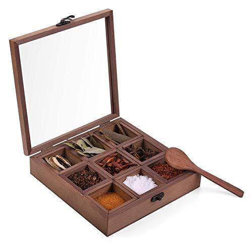 Wooden spice box vintage old wooden storage box succulent flower pot wooden box spice (Color : Brown)