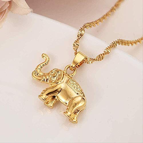 ZJJLWL Co.,ltd Collar con Colgante de Elefante joyería para Amantes de Las Mujeres/Hombres Regalo de San ValentínAbalorios defantasía de Color Dorado románticobisutería
