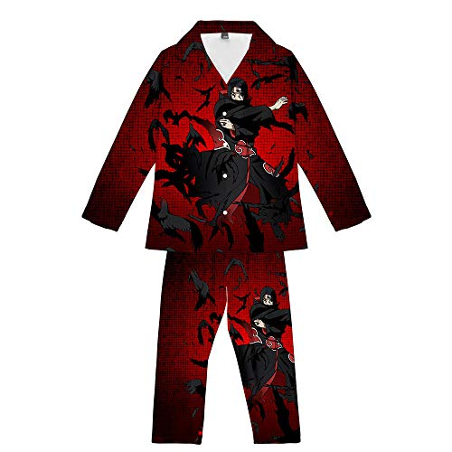 GAMESBD Anime Naruto Uchiha Itachi 2 Stück Pyjama-Set Teenager Herren/Damen Langarm Freizeit Pyjamas Bequem Weich Dunkelrot 5XL