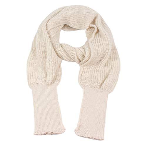 Huwaioury Unisex Winter Warm Strick Wrap Poncho Schal Häkeln Lange Schal Cape mit Ärmel beige