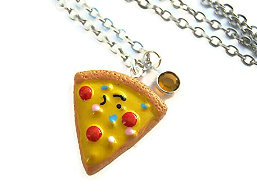 Personalized Pizza Slice Necklace, Birthstone Necklace, Resin Kawaii Pendant, Foodie Pepperoni Jewelry
