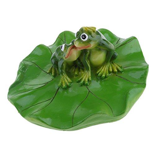 MagiDeal Frosch auf Blatt Schwimmtier aus Harz Teichfigur Gartenfigur Teichfrosch Grten Teich Deko, Frosch in verschiedenen Bildung - Küssen