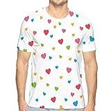 Men's Dry Tee, Solid Cotton Crew Shirt for Men Full Color Heart Love Shape Template Wallpaper Print Full Color Heart Love Shape Variegated