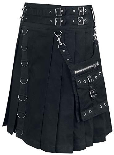 Heartless Calle Kilt Männer Mittellanger Rock schwarz M 98% Baumwolle, 2% Elasthan Gothic, Mittelalter