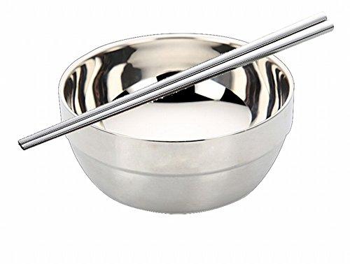 WRL Acier Inoxydable Vaisselle Anti-Chaud Soupe Nouilles Fer Bol de Riz Vaisselle Nouilles Instantanées Bol Maison,Une,11.5CM