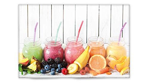 Glasvision | Küchenrückwand aus Glas | Spritzschutz | Memoboard | Herdabdeckplatte (60 x 40 cm, Colored Smoothies)