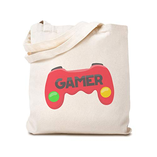 Custom Canvas Tote Reusable Shopping Bag Joystick Gamer Funny & Novelty Baby Clipart Beach Bags for Kids Natural Design Only
