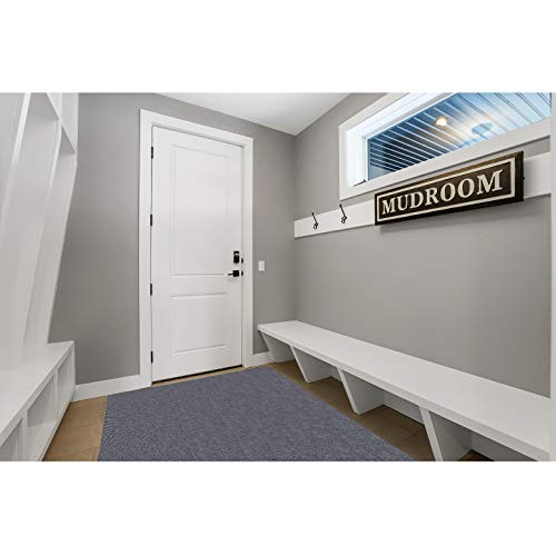 Mudroom Runner Rug by New Pig   Non Slip & Low Profile Doormat with Adhesive Backing   Made in USA   100% Recycled Fibers   Absorbent Entry Rug Traps Water, Snowmelt & Dirt   3'x 5' Grey Berber