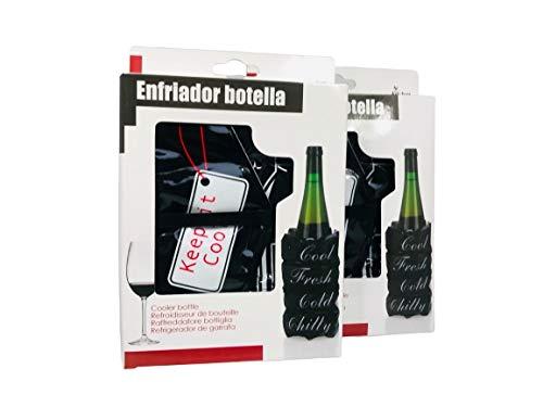 Beauty.Scouts Delight Collection 2er Set Flaschenkühler Fresh schwarz weiß rot 15x3x19cm Weinkühler Klettverschluss