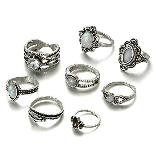 Aooaz Women's Ring Silver Plated Base Rings Leaves Cubic Zirconia Gemstone Rings Set Silver Retro