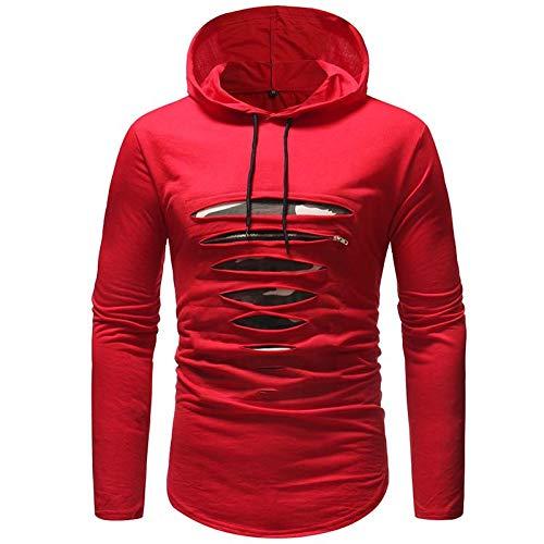 HOSD Camiseta de manga larga con capucha para hombre - rojo - Medium