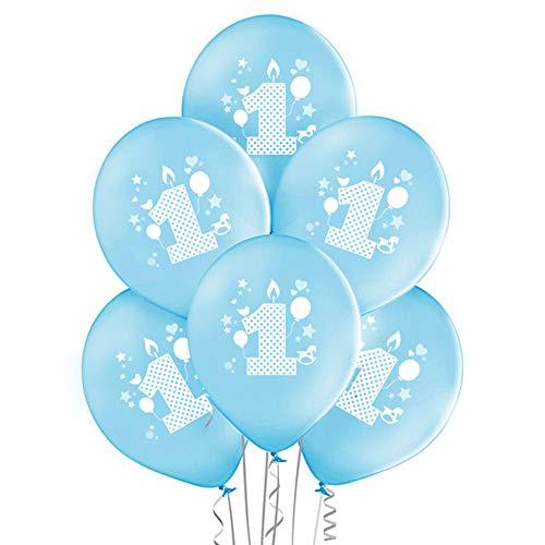 ocballoons Palloncini 1° Primo Compleanno Bimbo Azzurro Addobbi e Decorazioni Kit per Feste Made in ITALIY Biodegradabili Gonfiabili con Bombola a Elio Confezione 20pz