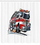 Feuerwehr-LKW HD-Druck, wasserdichter Duschvorhang für das Badezimmer, 12 Haken kostenlos, 180x180cm