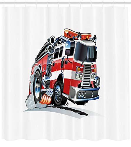 taquxinlaowan LKW-Duschvorhang Feuerwehr-LKW-Druck für Badezimmer