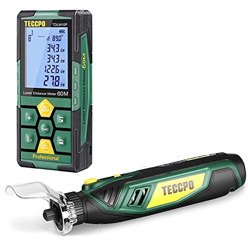 Laser Measure Rechargeable, TECCPO Laser Distance Meter 196ft, 99 Sets Data Storage, Electronic Angle Sensor, 4V Cordless Rotary Tool, Carving and Sanding Rotary Tool Kit, Multi-Purpose Rotary Tool