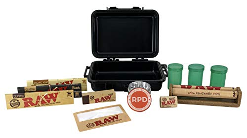 Bundle - 12 Items - Rolling Paper Depot RAW Smoker's Kit - Includes Air Tight Carrying Case, Rolling Papers, Cigarette Maker, Roll- Up Tips, Grinder and More