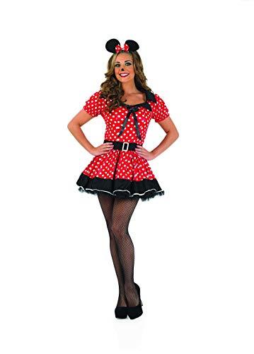 Fun Shack Disfraz de Minnie Mouse para Mujer Adulta con Vestido Rojo con Lunares, Talla XXL