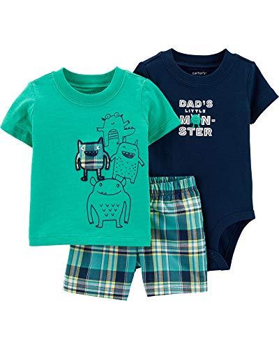 Carter's Baby Boys' 3-Piece Little Short Sets/Hippo
