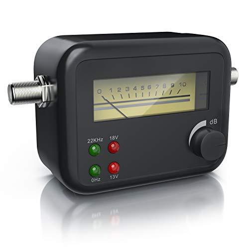 CSL Satfinder - Satellitenfinder mit Pegelskala - Zeigeranzeige mit Signalton - HD-fähig - hohe Eingangsempfindlichkeit - Anpassung der Signalstärke - Schwarz