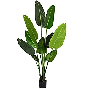 Silk Flower Arrangements Artificial Silk Bird of Paradise Palm Tree Potted Plant Fake Tropical Palm Tree for Indoor Outdoor, Home Garden Office Decor,1 Pack