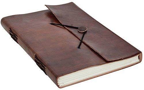 Gusti Leder nature Buch Notizblock Tagebuch Skizzenbuch Kladde Traditionell Groß Lederaccessoire Fotobuch Einschreibbuch Büro Alltag Universität Glatt Braun V33, Rotbraun, B5
