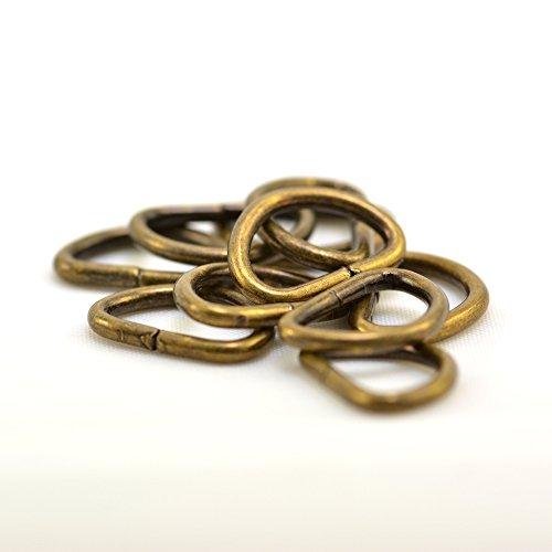 Set D roestvrij stalen ring voor bandbreedte 10 mm, Antieke Goud