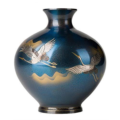Vasen Schlafzimmer Bodenvase Kupfer Blumenvase Japanische Hauptdekoration Wohnzimmerdekoration (Color : Blue, Size : 21 * 19.3cm)