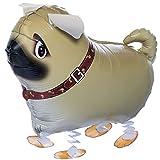 Walking Pets Folienballons Air-Walkers Heliumballons Tierfiguren Helium Luftballons; Mops Hund Airwalker Ballon mit Leine für Kinder
