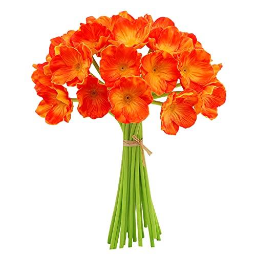 Decpro 12 Piezas de Amapolas Artificiales, 30,3 cm de látex Realista, Flores de Tallo de PU para decoración del hogar, Bodas, Fiestas, arreglos Florales, centros de Mesa (Rojo Atardecer)