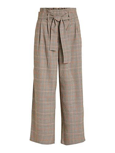 Vila Clothes Damen VIMULINI HW 7/8 Wide Pant/KI Hose, Schwarz (Black Checks: Puce Black Clouddancer Organe Peber), W(Herstellergröße: 40)