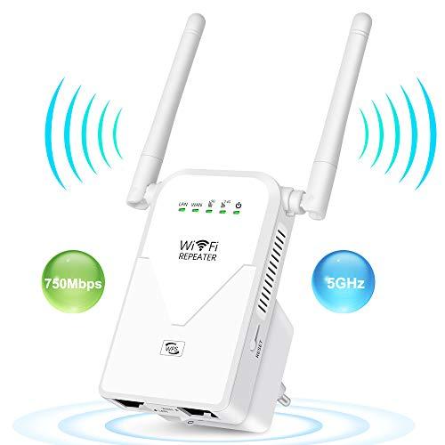 AC750 WLAN Repeater Dualband Signalverstärke Booster Wlan Router (433 Mbit/s, 5GHz+300 Mbit/s,2.4GHz)mit 2 Port und WPS Funktion, kompatibel zu Allen WLAN Geräten- Geschwindigkeit bis zu 750MBit/s