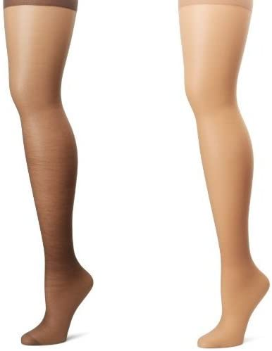 Hanes Women's Silk Reflections Plus-Size Control Top Enhanced Toe Pantyhose, Barely Black/Natural, 1