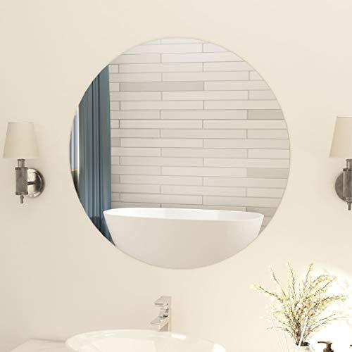 vidaXL Spiegel Rahmenlos Wandspiegel Badspiegel Dekospiegel Badezimmerspiegel Flurspiegel Frisierspiegel Wanddeko Wohnzimmer Rund 80cm Glas