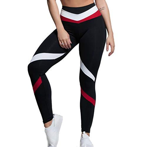 Pantalones de yoga para mujer, mallas de moda, estampados, bicolor, pantalones de yoga, cintura alta, pantalones elásticos, elásticos, de deporte, yoga, yoga, etc. rojo L
