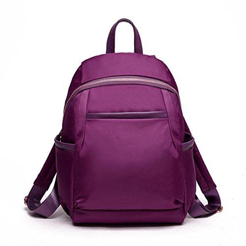 été BUKUANG Nylon Imperméable Sac à Bandoulière Sac à Main Multi-poches En Europe Mme Sac à Dos Cartable,Purple
