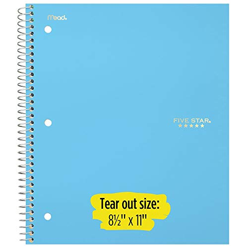 """Five Star Spiral Notebooks, 5 Subject, College Ruled Paper, 200 Sheets, 11"""" x 8-1/2"""", Teal, Yellow, 2 Pack (73509) Photo #2"""