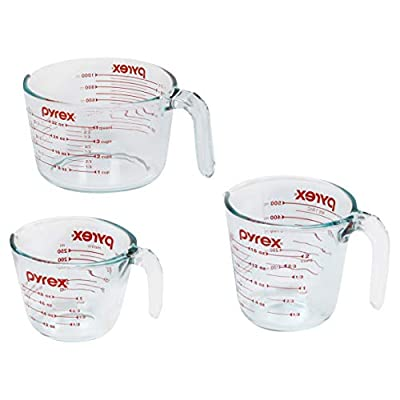 Pyrex Glass Measuring Cup Set (3-Piece, Microwave and Oven Safe),Clear by World Kitchen (PA)