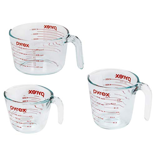 Pyrex Glass Measuring Cup Set (3-Piece, Microwave and Oven...