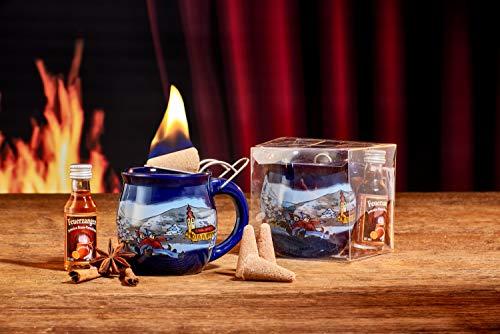 Feuerzangentasse 1er-Set, Blau/Winter, mit Rum - für Feuerzangenbowle