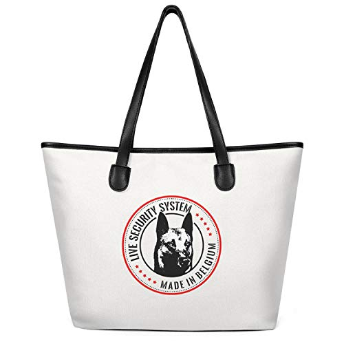 12.5X14 Inches Cute Zip Canvas Large Tote Bag Crazy My Best Friend Is a Belgian Malinois Lady Beach Bag Handles Shoulder Bag Women Purse Grocery Bag Fashion Handbags Tote Bag Top Handle