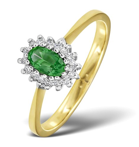 TheDiamondStore - Ring - ovaler Smaragd & Diamanten - Gelbgold 9 Karat - Ringgröße 56
