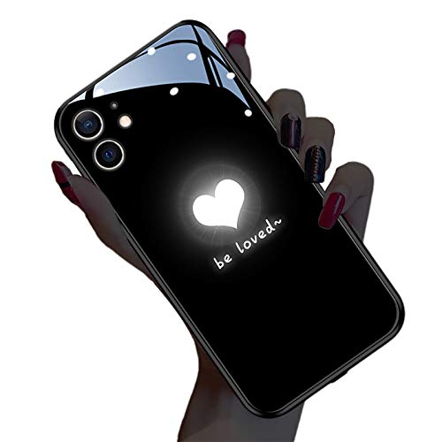 WYZDQ Funda Emisora De Luz Automática para iPhone 12/12 Mini/12 Pro/12 Pro MAX [2021 Nuevo], Cubierta Trasera De Vidrio Templado Anti-Caída,Negro,for iPhone12 Pro