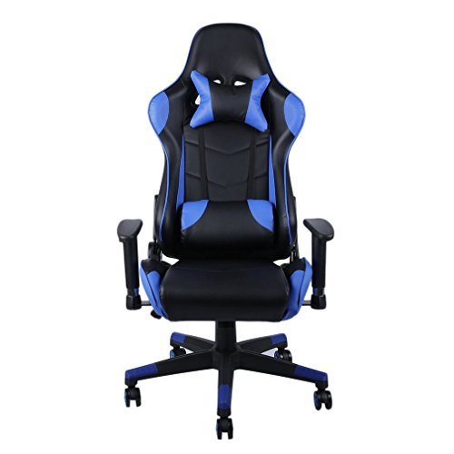 Gaming Chair, Racing Stuhl Ergonomisch, 180° Einstellung Rückenlehne, Computerstuhl mit Kopfstütze/Lordosenstütze/Verstellbare Armlehne (Blau)