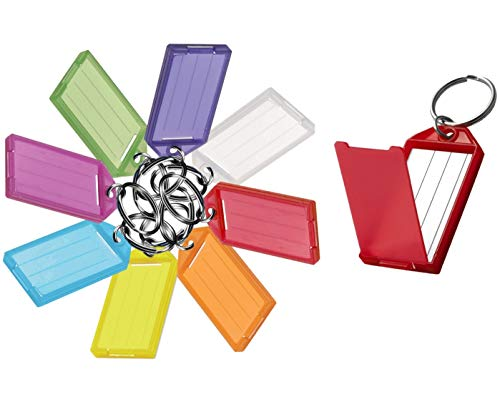 Lucky Line Key Tag with Flap, Split Ring & Paper Insert for Labeling, Key Organization & Identification, Assorted Colors, 25 Pack (6050025)