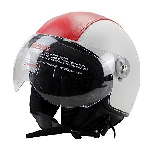 Woljay Leather Motorcycle Vintage Half Helmets Motorcycle Biker Cruiser Scooter Touring Helmet (M, Red)