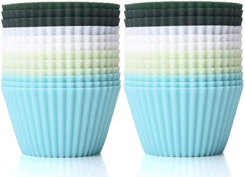 TeaRoo Silicone Baking Cups, Muffin Liners Reusable Nonstick Standard Size Cupcake Holder 24 Pack Molds Muffins Cup Molds