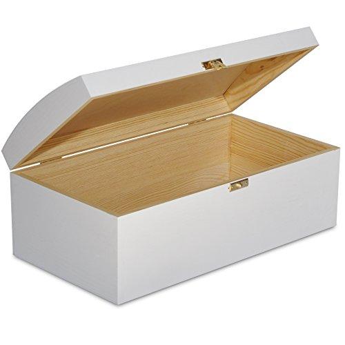 Creative Deco Weiß Holztruhe Holzkiste mit Deckel | 34,5 x 18 x 13,8 cm | Schatztruhe mit Schloss Kiste Spielzeugkiste Holzbox Unlackiert Kasten | Ideal für Wertsachen, Spielzeuge und Werkzeuge