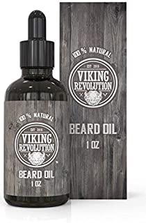 Viking Revolution Beard Oil Conditioner - All Natural Unscented Organic Argan & Jojoba Oils – Softens, Smooths & Strengthens Beard Growth – Grooming Beard and Mustache Maintenance Treatment, 1 Pack